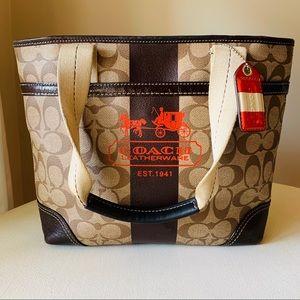Coach - Heritage Stripe Leather Red Shoulder Bag